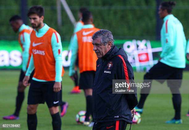 PortugalÕs head coach Fernando Santos during Portugal's National Team Training session before the 2018 FIFA World Cup Qualifiers matches against...
