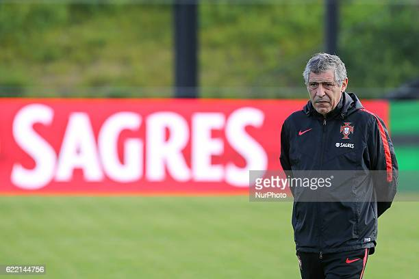 Portugals head coach Fernando Santos during Portugal's National Team Training session before the 2018 FIFA World Cup Qualifiers matches against...