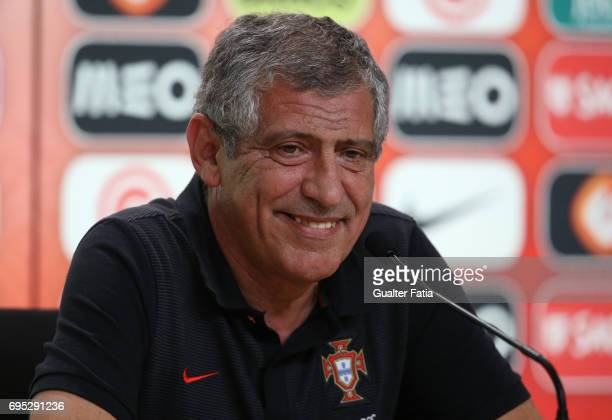 Portugal's head coach Fernando Santos during Portugal's National Team Press Conference before the 2017 FIFA Confederations Cup matches at FPF Cidade...