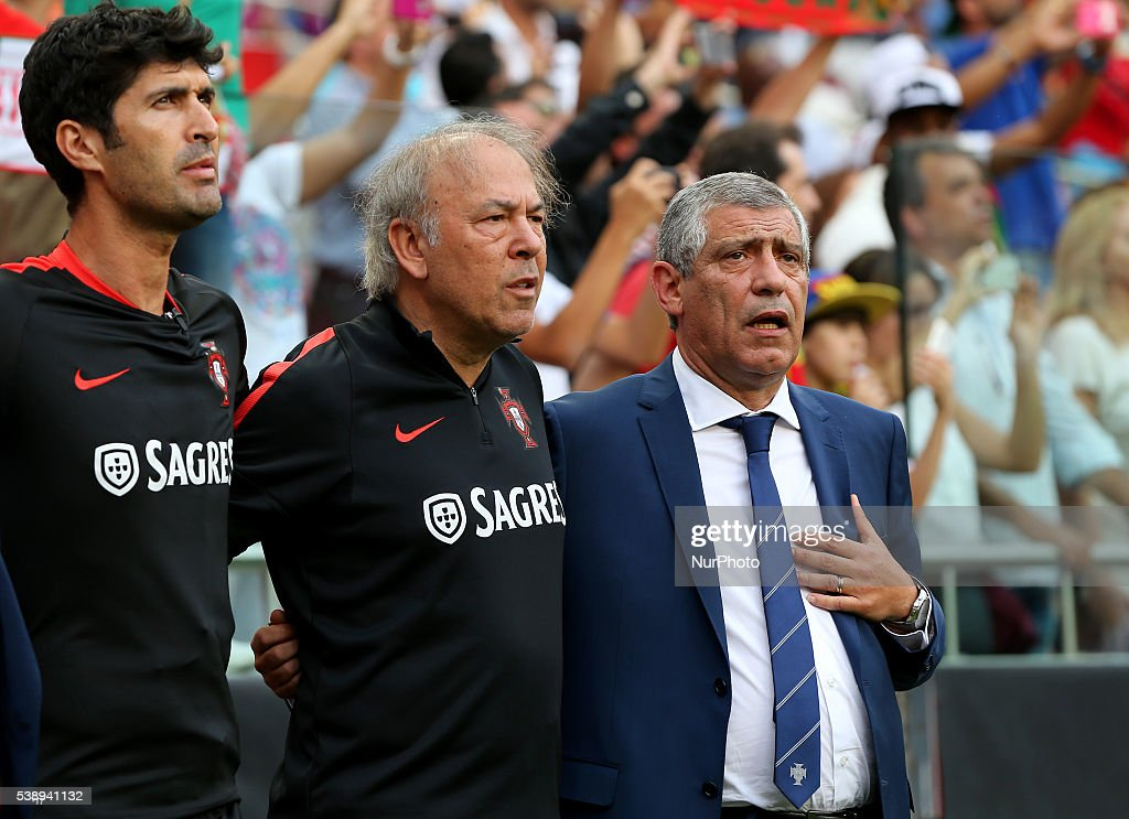 Portugals head coach Fernando Santos into national anthem before starts international friendly match between Portugal and Estonia in preparation for...