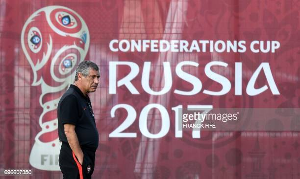 Portugal's head coach Fernando Santos looks as his players during a training session ahead of the Russia 2017 Confederation Cup football tournament...
