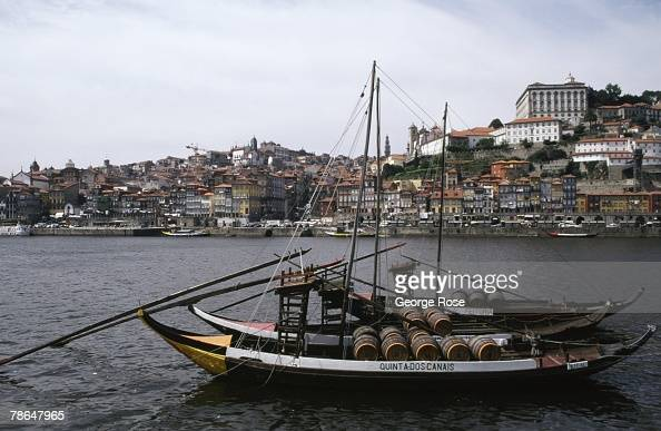 Portugal's historic city of Oporto is viewed from across the Douro River in this 2003 Vila Nova de Gaia Portugal photo