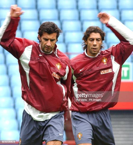 Portugal's Luis Figo and Rui Costa during training at Villa Park England play Portugal in friendly international game at Villa Park Birmingham