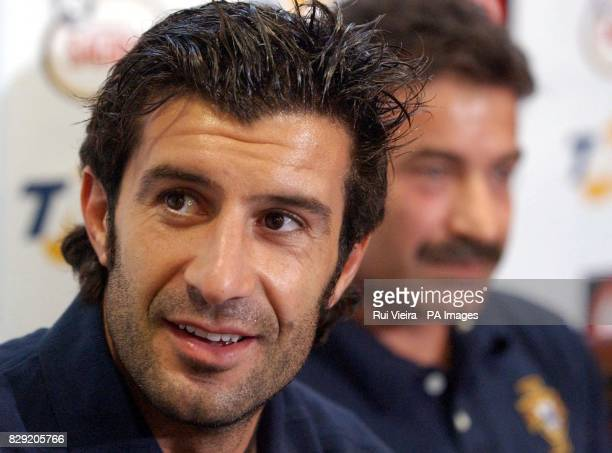 Portugal's Luis Figo during a press conference at Villa Park Friday September 6 2002 England play Portugal in friendly international game at Villa...