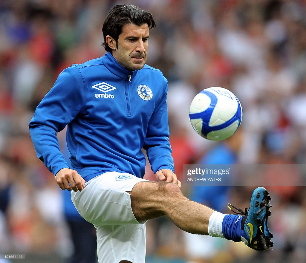 Portugal's Luis Figo warms up before the Unicef Soccer Aid charity football match at Old Trafford in Manchester, north-west England on June 6, 2010. Soccer Aid is the brainchild of Robbie Williams and all money raised through profits from ticket sales and donations made by viewers of ITV during the match will go to UNICEF�s work helping children around the world.