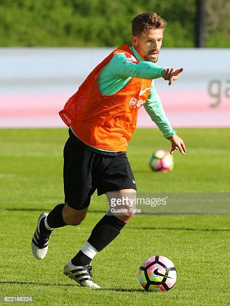 Portugal's midfielder Adrien Silva in action during Portugal's National Team Training session before the 2018 FIFA World Cup Qualifiers match against...