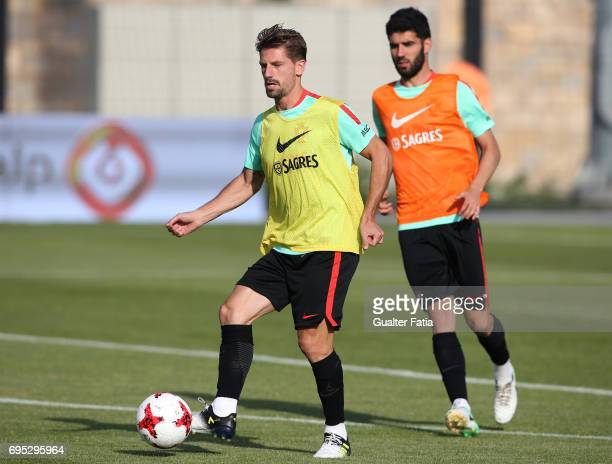 Portugal's midfielder Adrien Silva in action during Portugal's National Team Training session before the 2017 FIFA Confederations Cup matches at FPF...