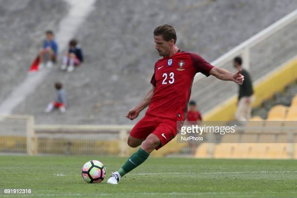 Portugal's midfielder Adrien Silva in action during the friendly football match Portugal vs Cyprus at Antonio Coimbra da Mota Stadium in Estoril...