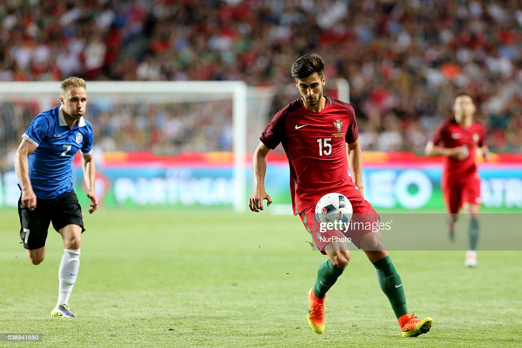 Portugals midfielder Andre Gomes in action during international friendly match between Portugal and Estonia in preparation for the Euro 2016 at...