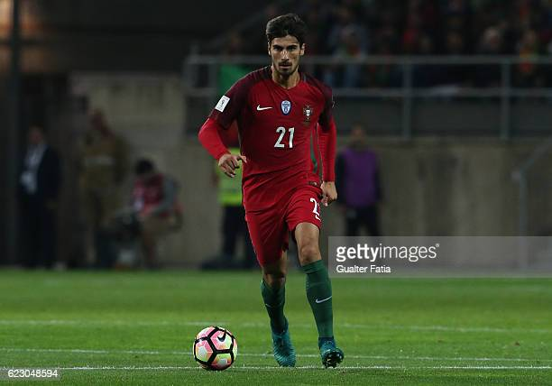 Portugal's midfielder Andre Gomes in action during the FIFA 2018 World Cup Qualifier match between Portugal and Latvia at Estadio Algarve on November...