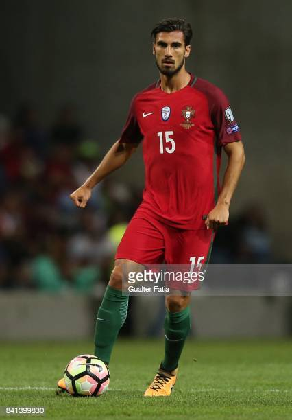 Portugal's midfielder Andre Gomes in action during the FIFA 2018 World Cup Qualifier match between Portugal and Faroe Islands at Estadio do Bessa on...