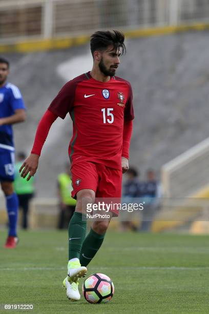Portugal's midfielder Andre Gomes in action during the friendly football match Portugal vs Cyprus at Antonio Coimbra da Mota Stadium in Estoril...