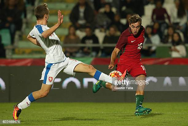 PortugalÕs midfielder Andre Horta with Czech RepublicÕs defender Michael Luftner in action during U21 Friendly match between Portugal and Czech...