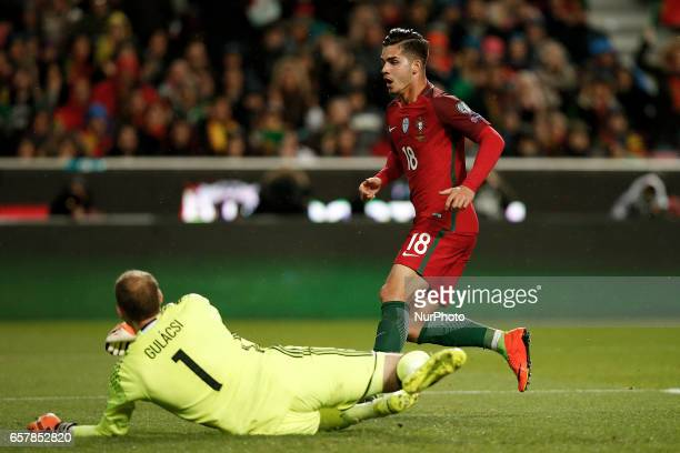 Portugal's midfielder Andre Silva celebrates his goal during the WC 2018 qualifier football match between Portugal vs Hungary in Lisbon on March 25...