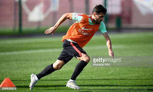 Portugal's midfielder Bernardo Silva attends a training session ahead of the Russia 2017 Confederation Cup football tournament in Kazan Russia on...