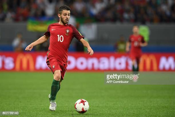 Portugal's midfielder Bernardo Silva plays the ball during the 2017 Confederations Cup semifinal football match between Portugal and Chile at the...