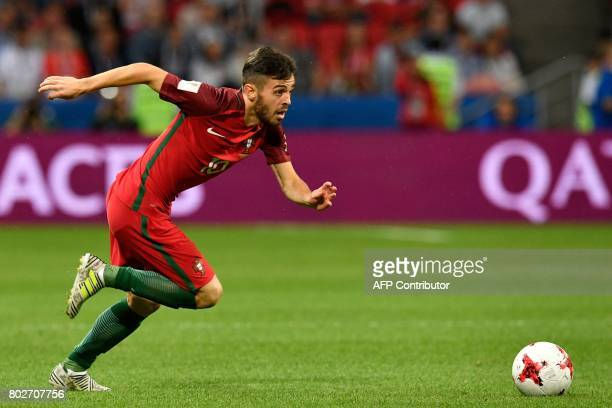 Portugal's midfielder Bernardo Silva runs for the ball during the 2017 Confederations Cup semifinal football match between Portugal and Chile at the...