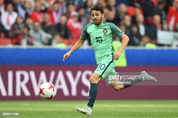 Portugal's midfielder Bernardo Silva runs with the ball during the 2017 Confederations Cup group A football match between Russia and Portugal at the...