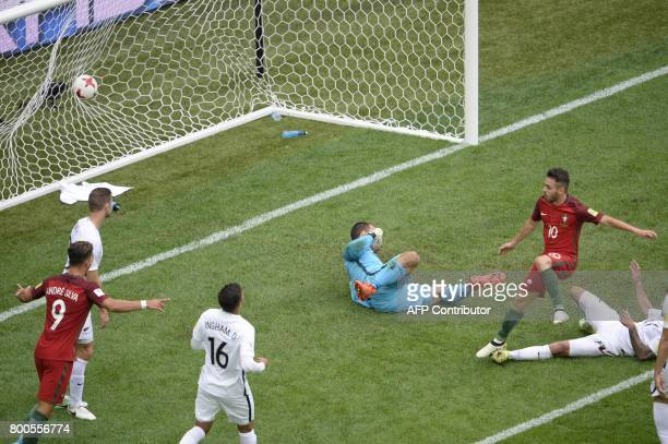 Portugal's midfielder Bernardo Silva scores a goal during the 2017 Confederations Cup group A football match between New Zealand and Portugal at the...