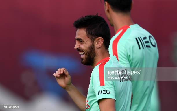 Portugal's midfielder Bernardo Silva smiles during a training session ahead of the Russia 2017 Confederation Cup football tournament in Kazan on on...