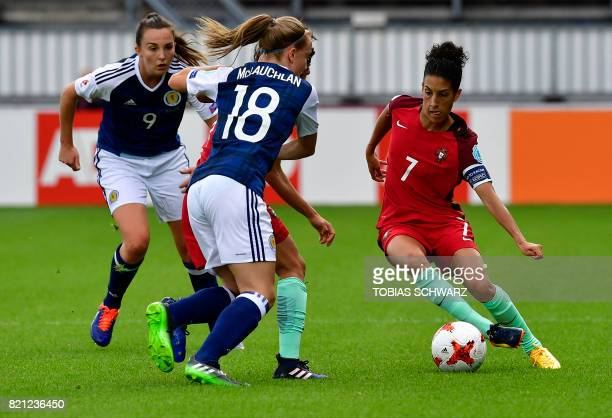 Portugal's midfielder Claudia Neto vies with Scotland's defender Rachel McLauchlan during the UEFA Women's Euro 2017 football tournament between...