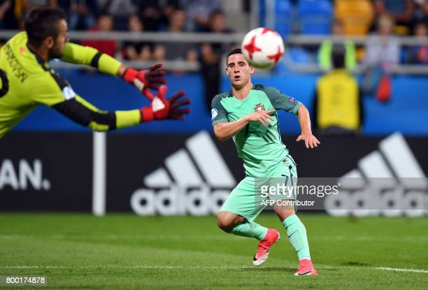 Portugal's midfielder Daniel Podence fails to score during the UEFA U21 European Championship Group B football match FYR Macedonia vs Portugal in...