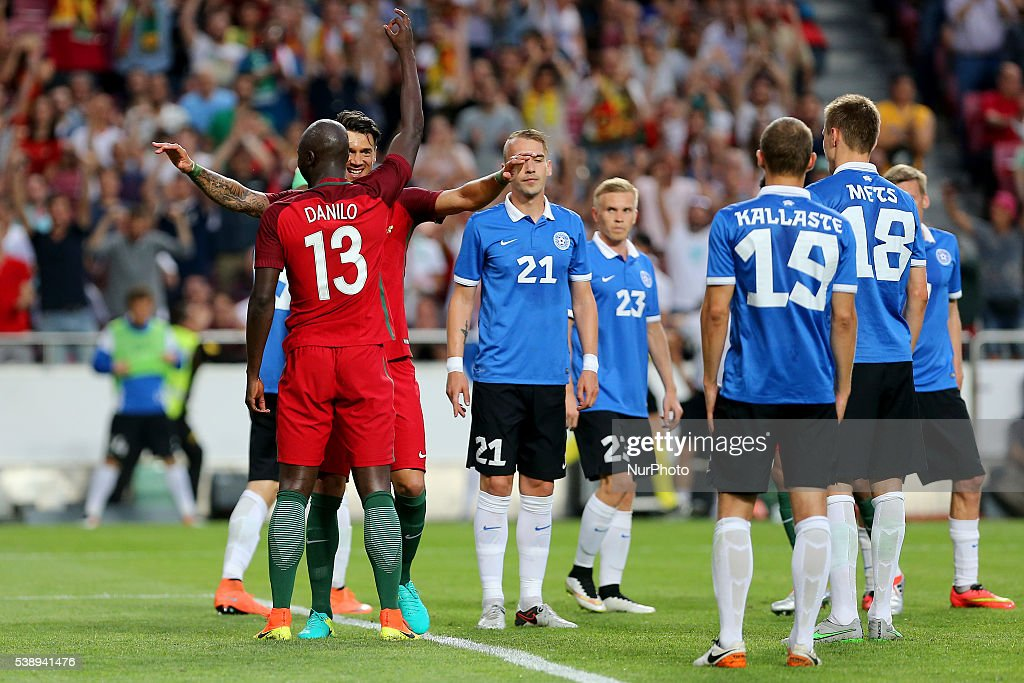 Portugals midfielder Danilo Pereira celebrates after scoring a goal with team mates during international friendly match between Portugal and Estonia...