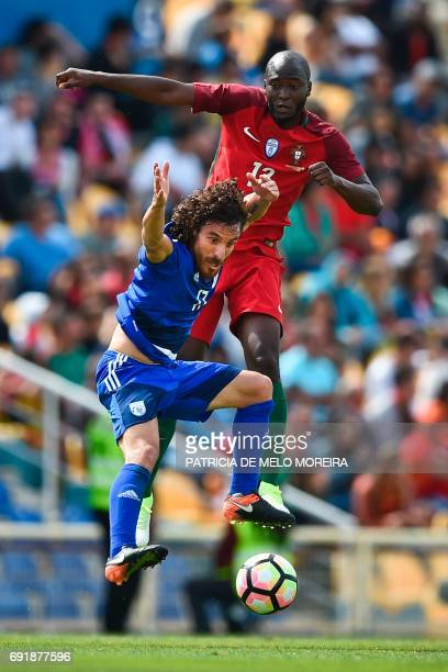 Portugal's midfielder Danilo Pereira vies with Cyprus' defender Renato Margaça during the friendly international football match Portugal vs Cyprus at...