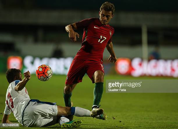 PortugalÕs midfielder Francisco Geraldes with Czech RepublicÕs defender Lukas Hulka in action during U21 Friendly match between Portugal and Czech...