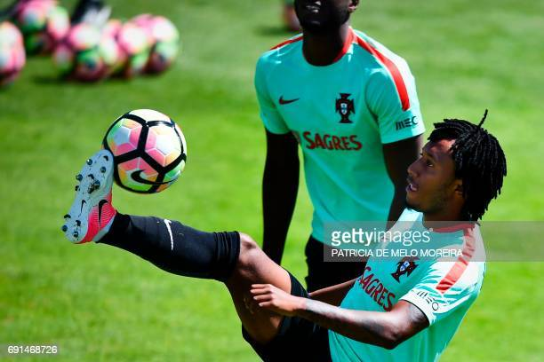 Portugal's midfielder Gelson Martins controls the ball during a training session at 'Cidade do Futebol' training camp in Oeiras outskirts of Lisbon...