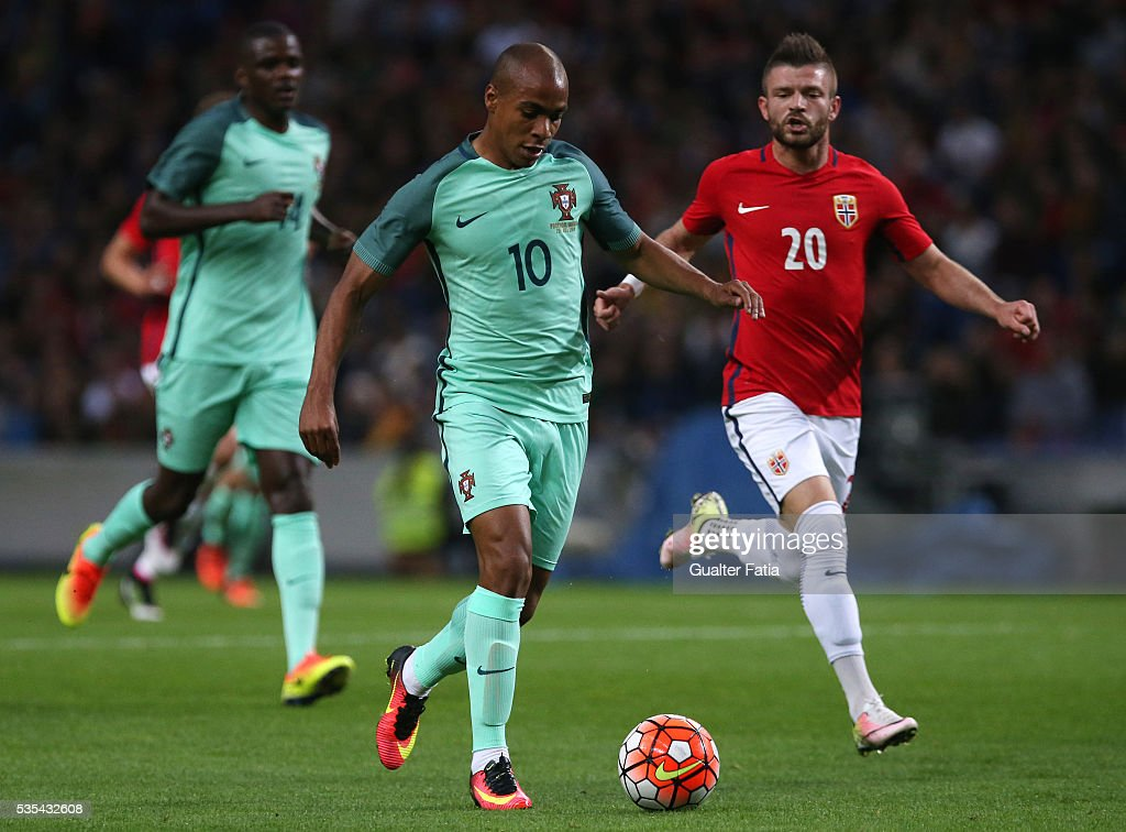 Portugal's midfielder Joao Mario in action during the International Friendly match between Portugal and Norway at Estadio do Dragao on May 29, 2016 in Porto, Portugal.
