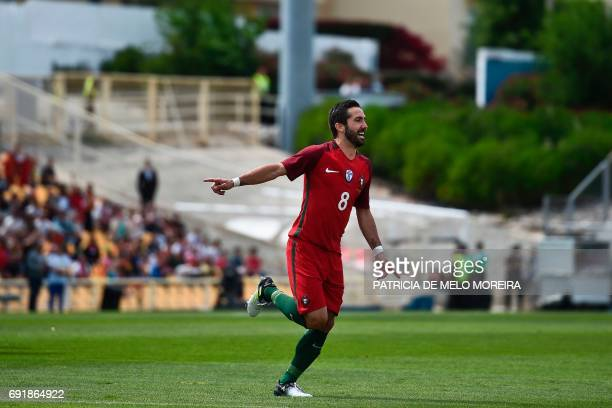 Portugal's midfielder Joao Moutinho celebrates after scoring during the friendly international football match Portugal vs Cyprus at the Antonio...