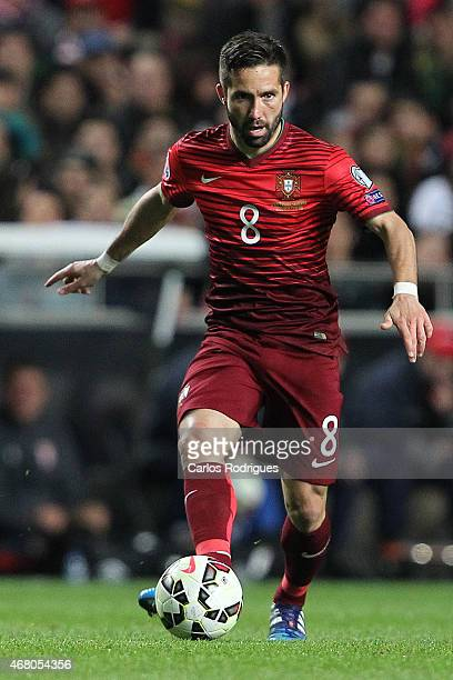 Portugal's midfielder Joao Moutinho during the UEFA Euro 2016 Qualifier between Portugal and Serbia at Estadio da Luz on March 29 2015 in Lisbon...