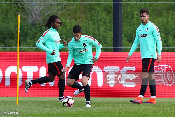Portugal's midfielder Pizzi in action during Portugal's National Team Training session before the 2018 FIFA World Cup Qualifiers matches against...