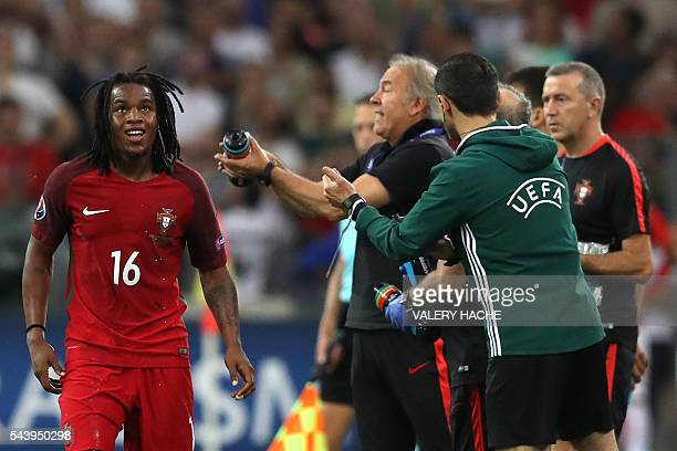 Portugal's midfielder Renato Sanches after scoring during the Euro 2016 quarterfinal football match between Poland and Portugal at the Stade...