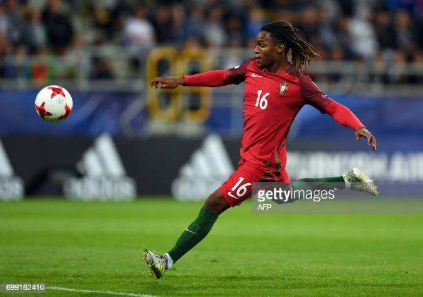 Portugal's midfielder Renato Sanches in action during the UEFA U21 European Championship Group B football match Spain v Portugal in Gdynia on June 20...