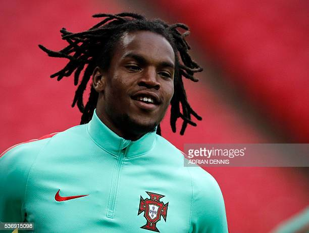 Portugal's midfielder Renato Sanches takes part in a training session at Wembley Stadium in north London on June 1 2016 ahead of the international...
