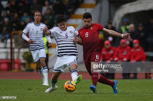 Portugal's midfielder Ruben Neves with Denmark's midfielder Christian Norgaard during the U21 International Friendly between Portugal and Denmark on...