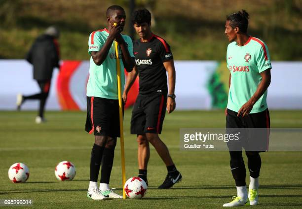 Portugal's midfielder William Carvalho with Portugal's defender Bruno Alves during Portugal's National Team Training session before the 2017 FIFA...