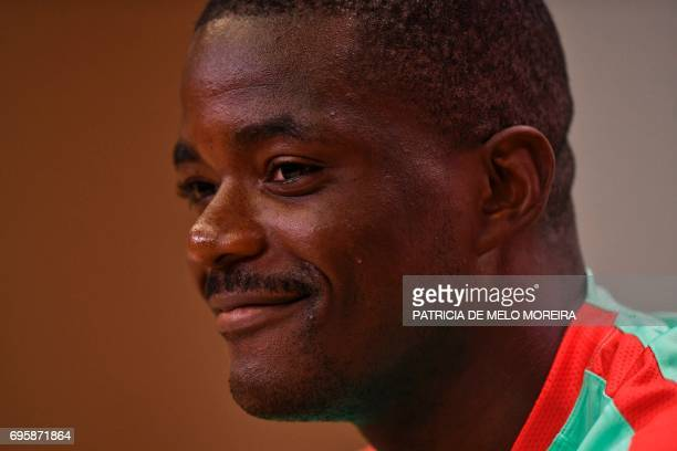 Portugal's midfielder William de Carvalho smiles during a press conference at 'Cidade do Futebol' training camp in Oeiras outskirts of Lisbon on June...