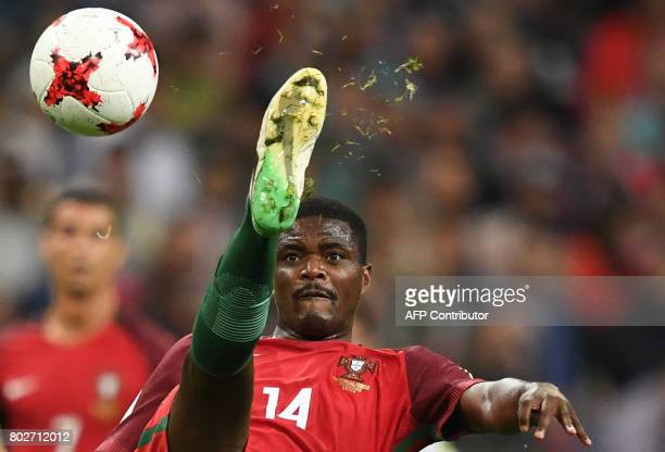 Portugal's midfielder William kicks the ball during the 2017 Confederations Cup semifinal football match between Portugal and Chile at the Kazan...