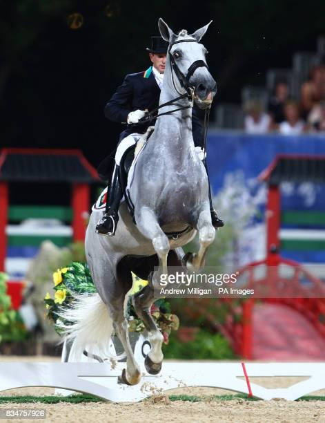 Portugal's Miguel Ralao Duarte on Oxalis who withdrew after it reared up several times during the individual dressage 1st round qualifier at the...