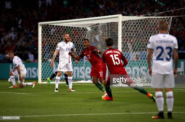 Portugal's Nani celebrates scoring his side's first goal of the game