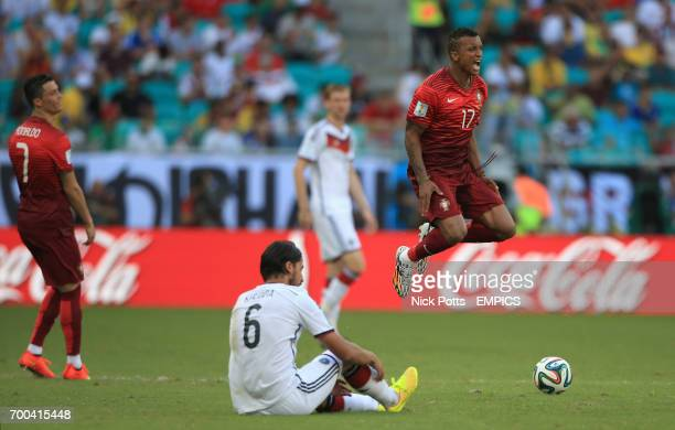 Portugal's Nani reacts to a tackle from Germany's Sami Khedira