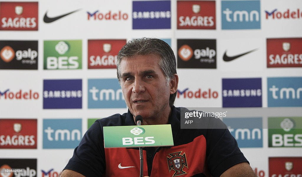 Portugal's national football team coach Carlos Queiroz gives a press conference after a training session in Massama, near Lisbon, on June 5, 2010 to prepare for the FIFA 2010 World Cup in South Africa.