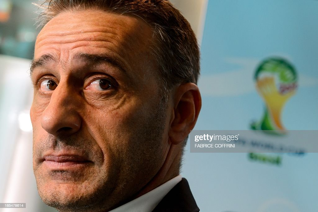 Portugal's national football team coach Paulo Bento answers to journalists on October 21, 2013 after attending the draw for the 2014 FIFA World Cup European zone play-off matches held at the headquarters of the football's world governing body in Zurich. The play-off matches are due to be played on November 15 and 19.