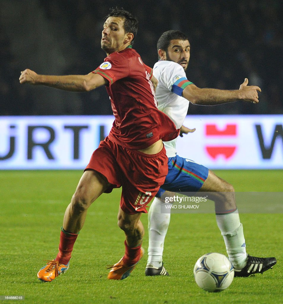 Portugal's national football team forward Danny (L) vies with Azerbaijan's national football team defender Rashad Sadygov (R) during their 2014 World Cup qualifying football match at Tofig Bahramov stadium in the Azerbaijan's capital Baku, on March 26, 2013.