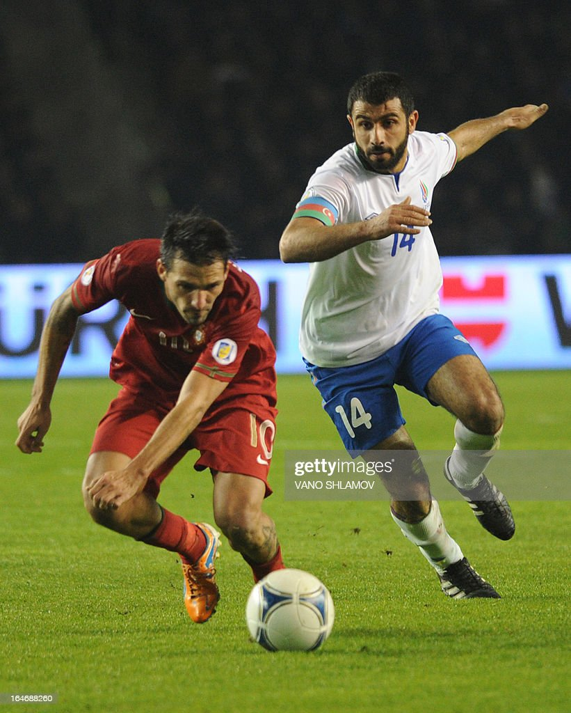Portugal's national football team forward Danny (L) vies with Azerbaijan's national football team defender Rashad Sadygov (R) during their 2014 World Cup qualifying football match at Tofig Bahramov stadium in the Azerbaijan's capital Baku, on March 26, 2013. AFP PHOTO / VANO SHLAMOV