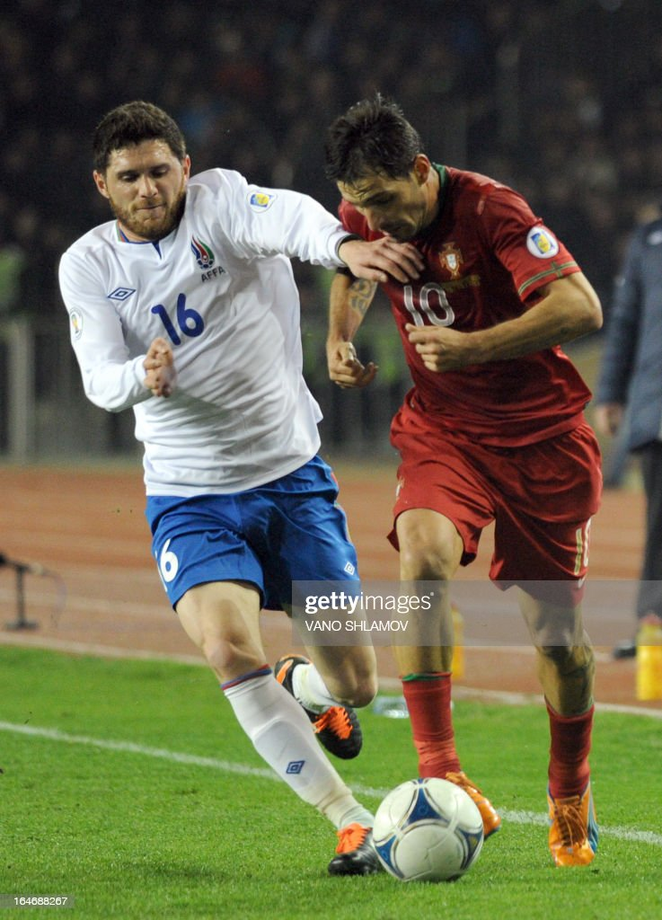Portugal's national football team forward Danny (R) vies with Azerbaijan's national football team midfielder Javid Huseynov (L) during their 2014 World Cup qualifying football match at Tofig Bahramov stadium in the Azerbaijan's capital Baku, on March 26, 2013. AFP PHOTO / VANO SHLAMOV
