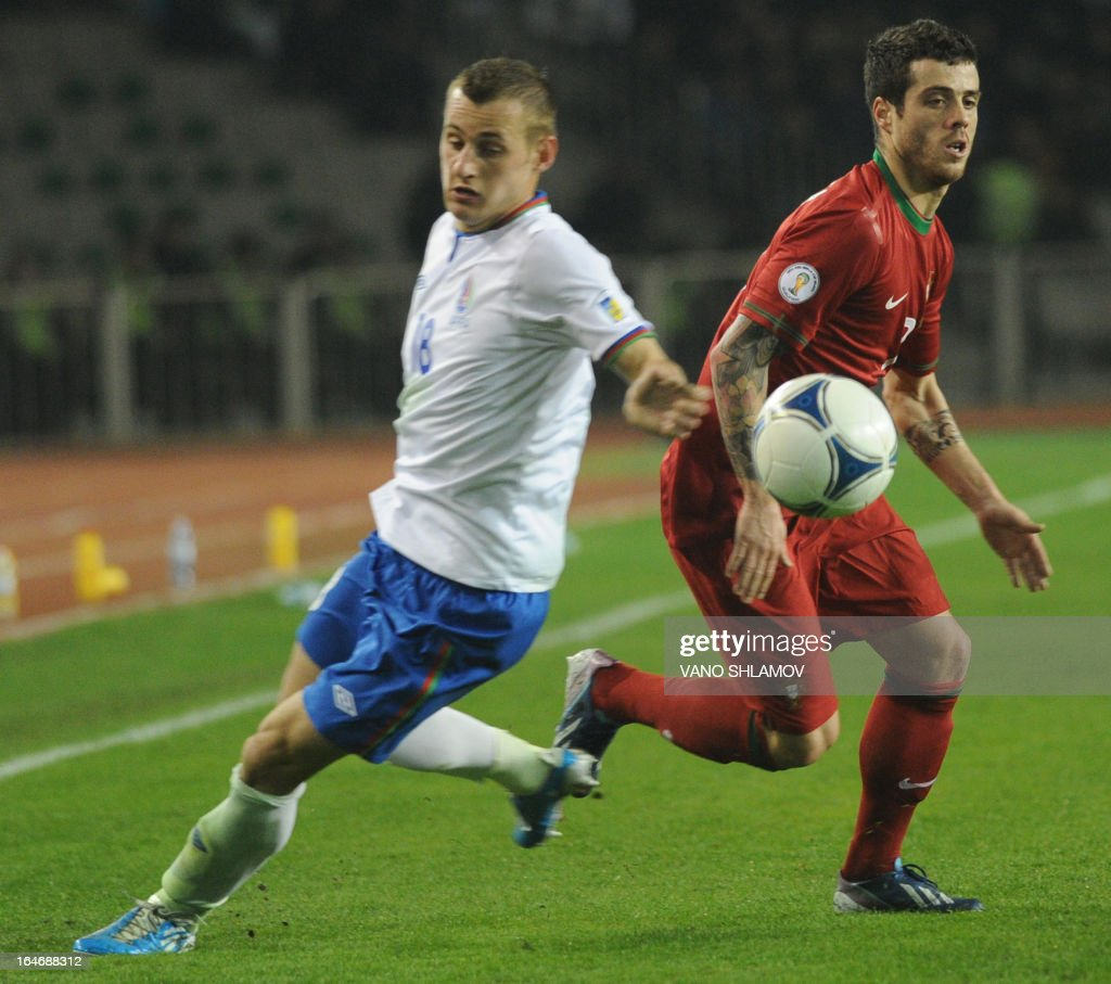 Portugal's national football team player Adelino Freitas (R) vies with Azerbaijan's national football team defender Maksim Medvedev (L) during their 2014 World Cup qualifying football match at Tofig Bahramov stadium in the Azerbaijan's capital Baku, on March 26, 2013.